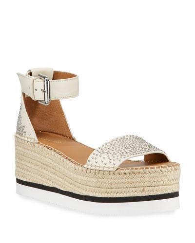 Studded Ankle-Strap Flatform Espadrilles