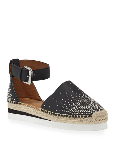 Studded Flat Ankle Espadrilles