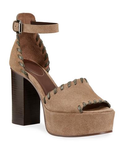 Whipstitched Suede Platform Sandals