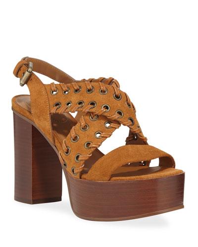 Suede Platform Stitched Sandals