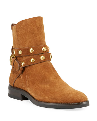 Studded Suede Buckle Booties