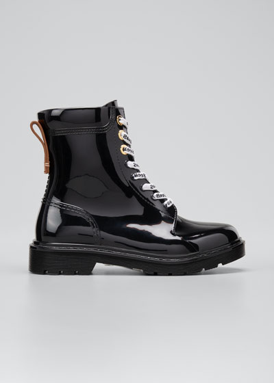Rubber Lace-Up Rain Boots