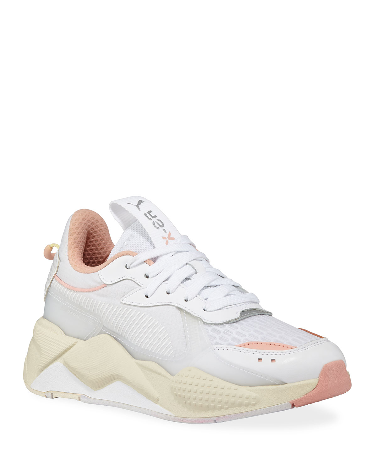 e3fc1ba2c94aac Puma Rs-X Tech Lace-Up Nylon Trainer Sneakers In White/ Peach Bud ...