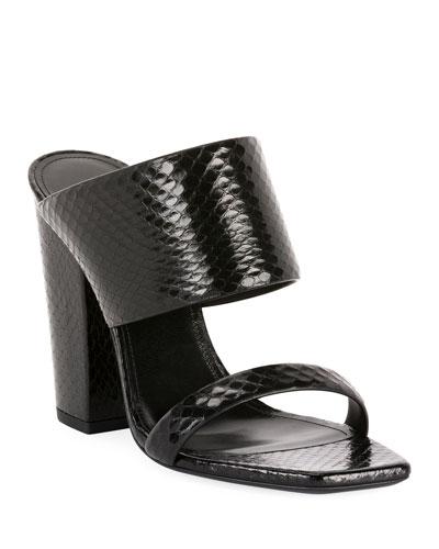 Oak Snakeskin Mule Sandals