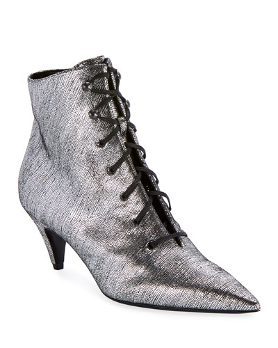 Charlotte Metallic Lace-Up Booties