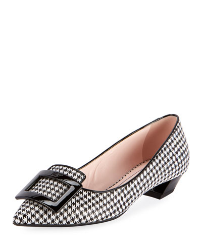 Gommettine Houndstooth Buckle Flats
