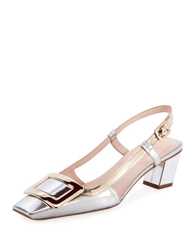 Belle Vivier Metallic Buckle Pumps