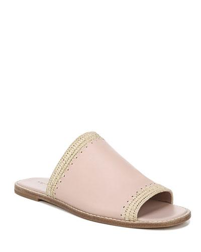 Padmore Raffia-Trim Slide Sandals, Beige