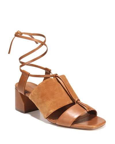 Dunaway Mixed Self-Tie Sandals, Brown