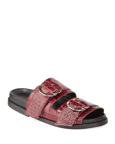 Dual Strap Croc-Embossed Leather Sandals