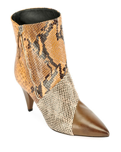 Latts Snake-Embossed Booties