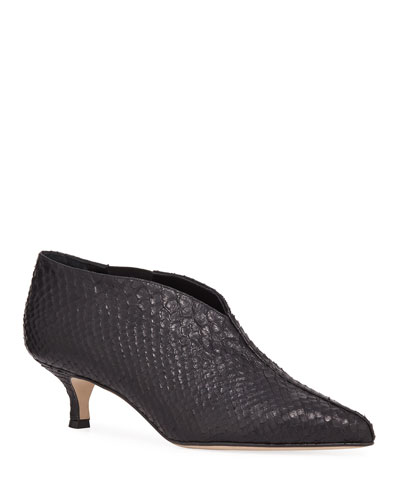 Asher Snake-Embossed Kitten-Heel Booties