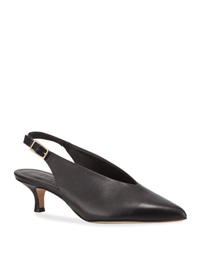 Lia Kitten-Heel Slingback Pumps, Black