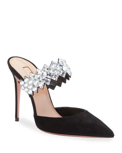 Talisman Crystal-Embellished Mules