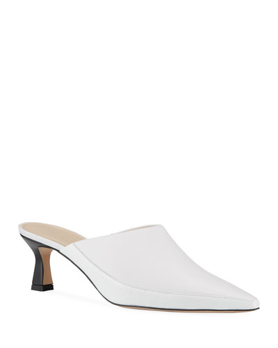 Bente Kitten-Heel Leather Mules