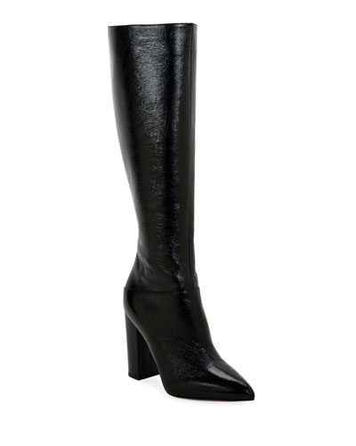 Ring Rockstud Patent Knee Boots