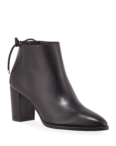 Gardiner Leather Block-Heel Ankle Booties