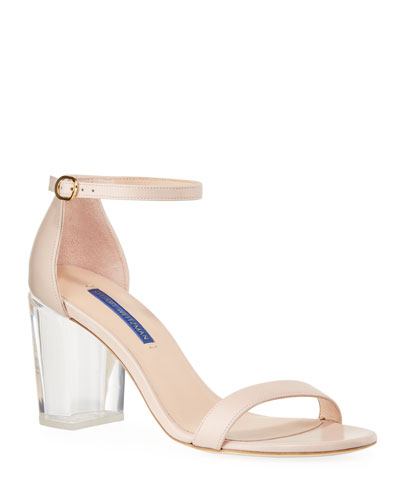 Nearlynude Clear-Heel Leather Sandals