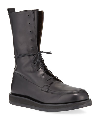 07569556b1f Patty Leather Lace-Up Combat Boots