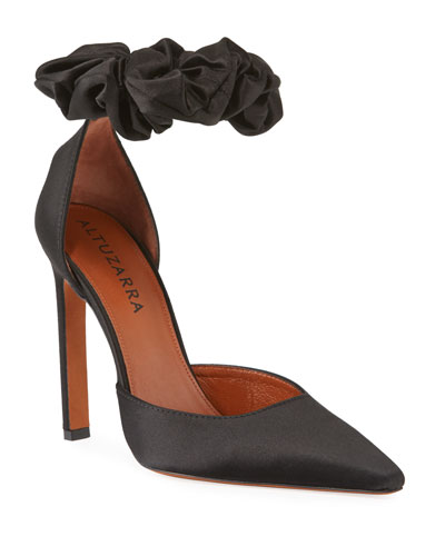 George Satin Scrunch Pumps