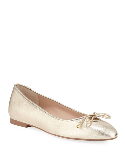 Gabby Metallic Leather Bow Flats