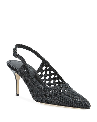 Basewusli Woven Leather Slingback Pumps