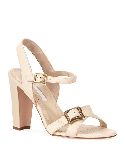 Rioso Leather Block-Heel Buckle Sandals