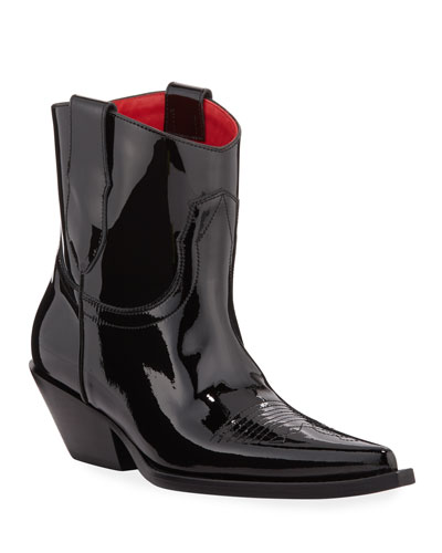 Santiag Patent Pointed Booties