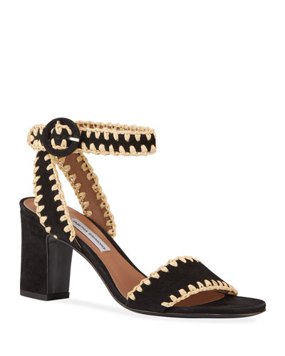 Leticia Whipstitched Suede Ankle-Wrap Sandals, Black