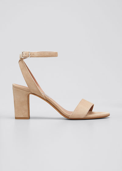 Leticia Suede Ankle-Wrap Sandals, Beige