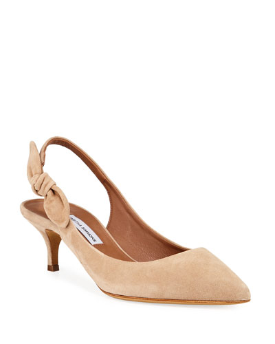 Rise Suede Slingback Bow Pumps