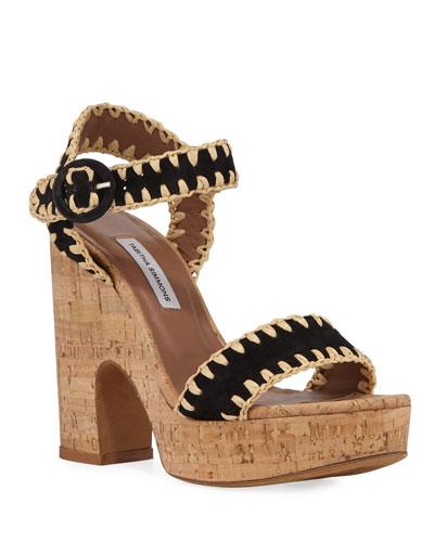 Elena Whipstitched Suede Platform Sandals