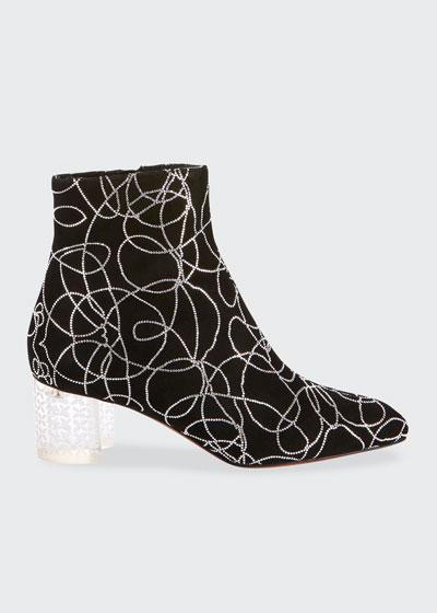 Suede Crystal Plexi-Heel Booties