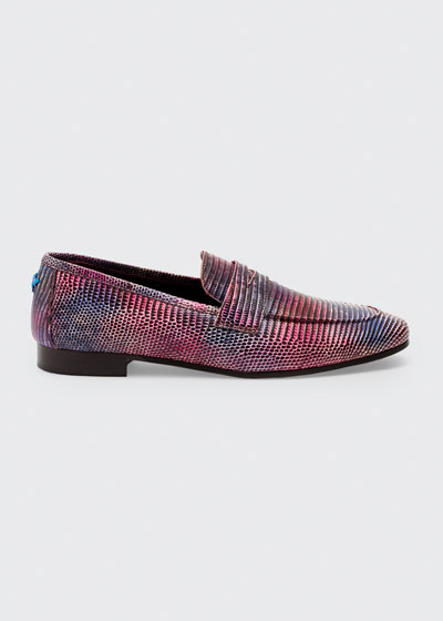Mixed Lizard Flat Loafers