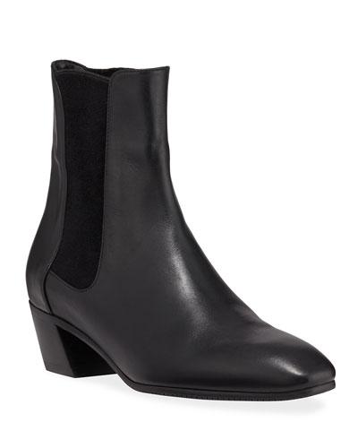 Cleora Block-Heel Leather Chelsea Booties