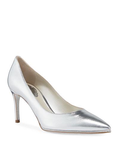Grace Metallic Leather Pumps, Silver