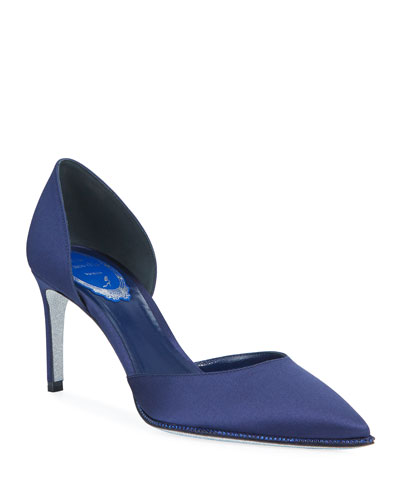 Satin Crystal-Trim d'Orsay Pumps, Indigo