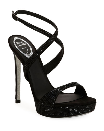Krisa Brita Crystal Crisscross Sandals