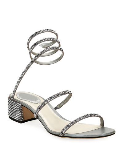 Crystal Snake 40mm Sandals, Silver