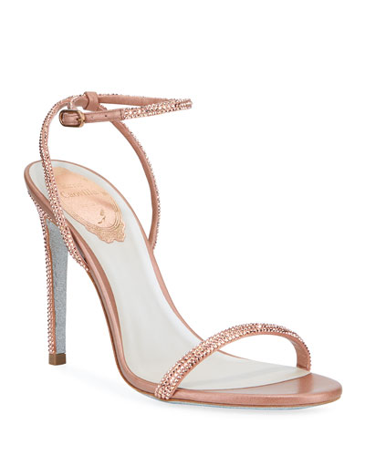 Ellabrita Crystal Satin Ankle-Strap Sandals