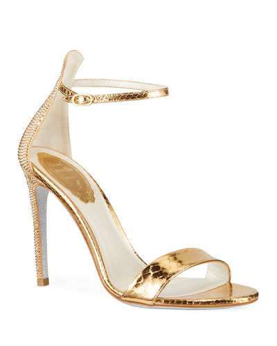 Metallic Python-Print Crystal Sandals