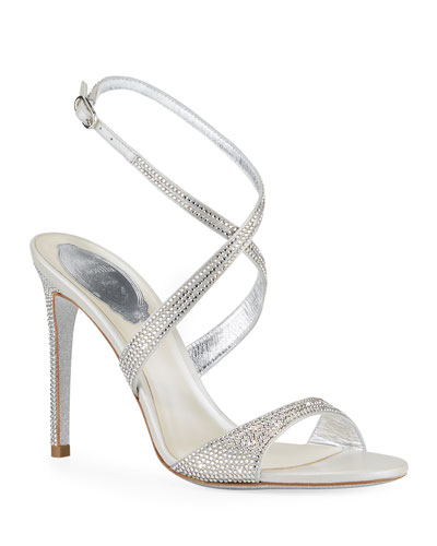 Krisabrita Crystal Satin Ankle-Wrap Sandals