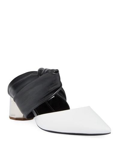 Two-Tone Leather Mules