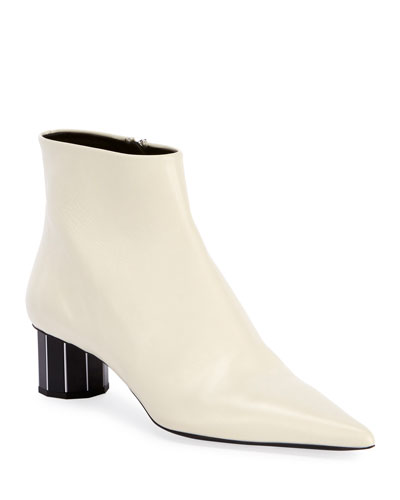 Leather Pointed Mirror-Heel Booties, White