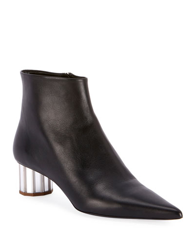 Leather Pointed Mirror-Heel Booties, Black