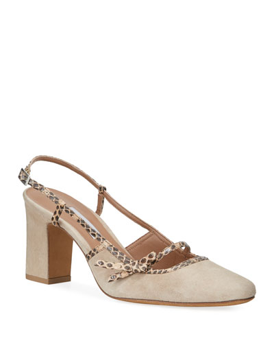 Donnie Suede & Snakeskin Bow Pumps, Beige