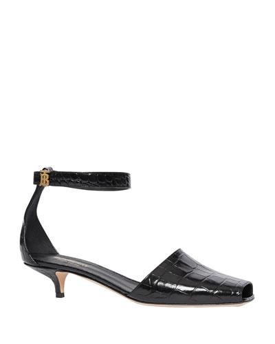 Stadling Kitten-Heel TB Monogram Sandals