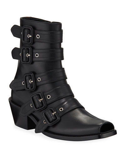 Albertina Belted Leather Booties