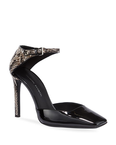 Patent and Snake-Print Ankle-Wrap Pumps