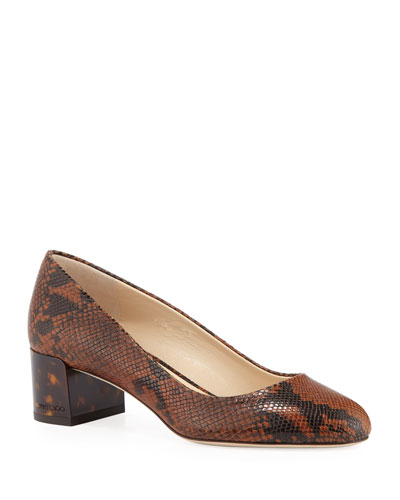 Jessie Snake-Embossed Leather Pumps